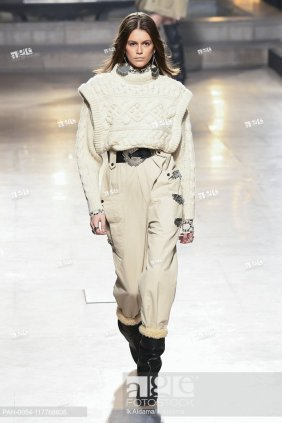 Kaia Gerber at Isabel Marant runway show during Paris Fashion Week, AW19, Autumn Winter 2019 collection - Paris, France 28/02/2019   usage worldwide. ...